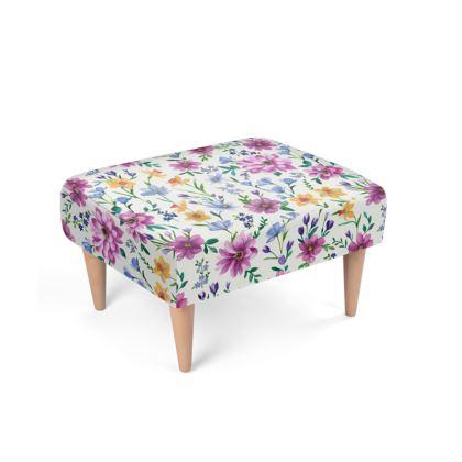 Floral Footstool, Beautiful Blooms Design