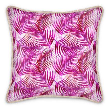 Tropical Garden Collection in Magenta Silk Cushions