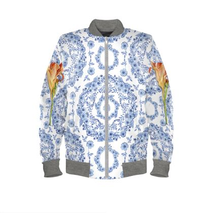 Blue Rhapsody Daylily Mens Bomber Jacket
