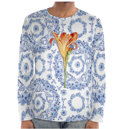 Blue Rhapsody Daylily Long Sleeve Shirt