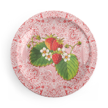 Strawberries on Pink Paisley Party Plates
