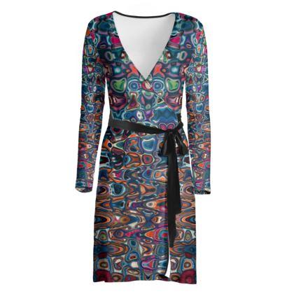 Wrap Dress Splashes Blue Brown