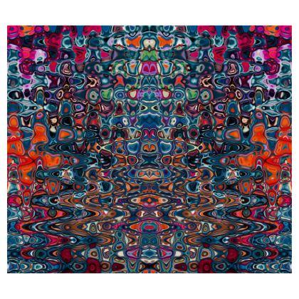 Flared Skirt Splashes Blue Brown