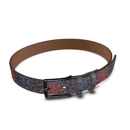 Leather Belt Splashes Blue Brown