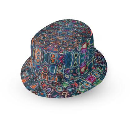 Bucket Hat Splashes Blue Brown