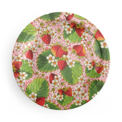 Pink Paisley Strawberries Party Plates