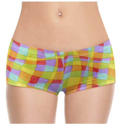 Rainbow Plaid Hot Pants