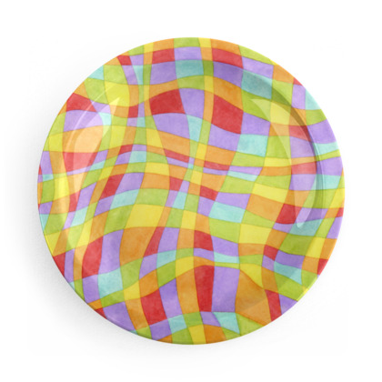 Rainbow Plaid Party Plates