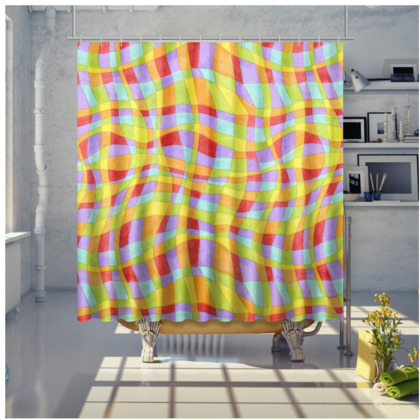 Rainbow Plaid Shower Curtain