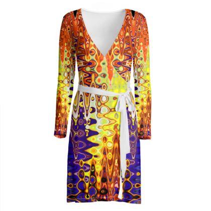 Wrap Dress Splashes Orange Purple