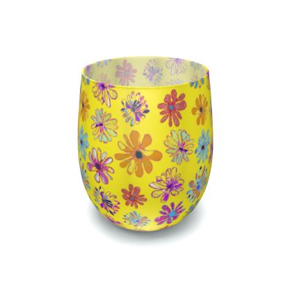 Rainbow Daisies Collection on yellow Water Glass