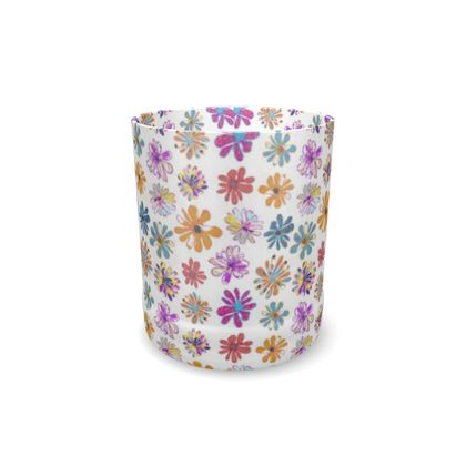 Rainbow Daisies Collection On White Whisky Glass