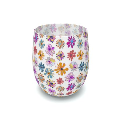 Rainbow Daisies Collection on white Water Glass