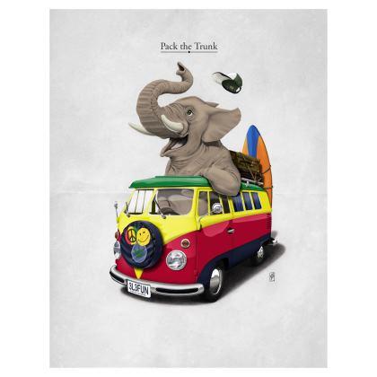 Pack the Trunk ~ Colour Animal Behaviour Art Postcard