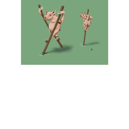 Stick in the Mud ~ Colour Animal Behaviour Art Postcard