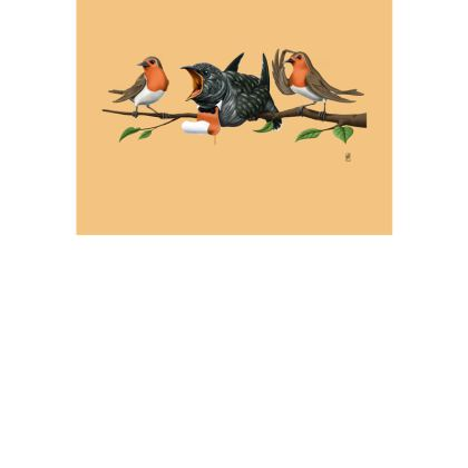 Cock Robin ~ Colour Animal Behaviour Art Postcard