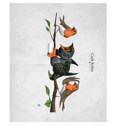 Cock Robin ~ Colour Animal Behaviour Art Postcard