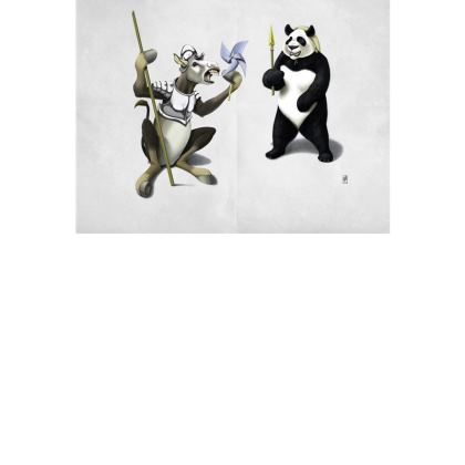 Donkey Xote and Sancho Panda ~ Colour Animal Behaviour Art Postcard