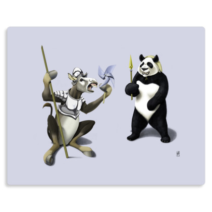 Donkey Xote and Sancho Panda ~ Wordless Animal Behaviour Metal Print