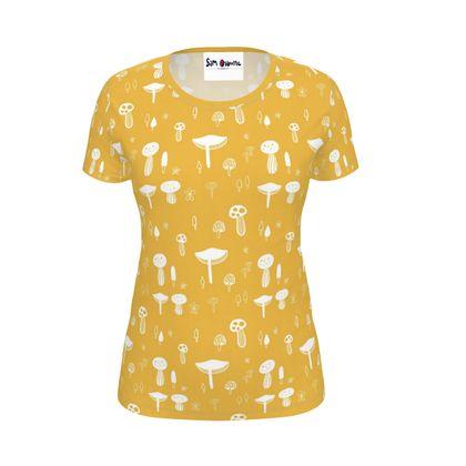 Ladies Yellow Mushroom Print T-Shirt