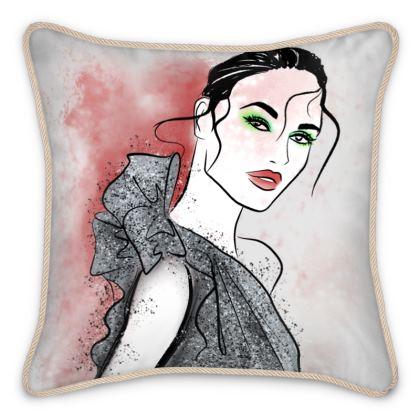 Silver Sparkle Silk Cushion