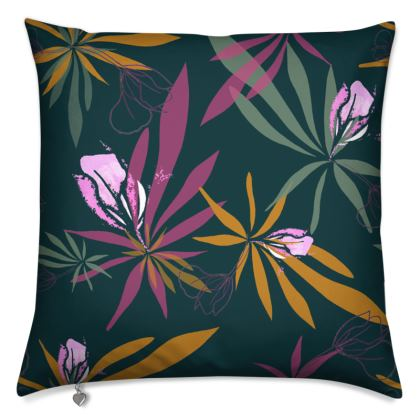 Cushion: Spiky Leaves and Buds Dark