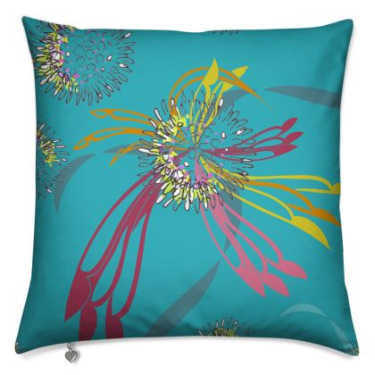 Cushion: Rich Flourishes Pattern on Turquoise