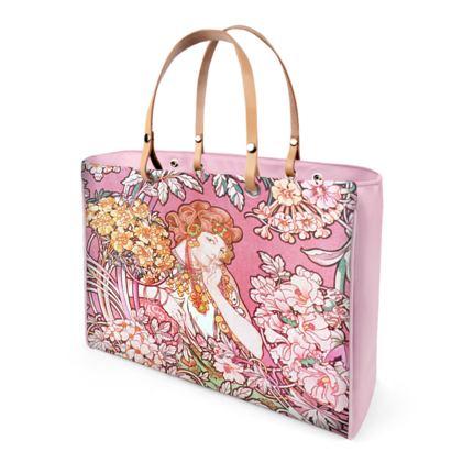 Alphonse Mucha Print Luxury Leather Handbags