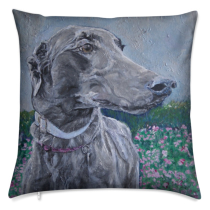 Lark the Greyhound Luxury Fine Art Cushion Cover by Somerset (UK) Artist Amanda Boorman