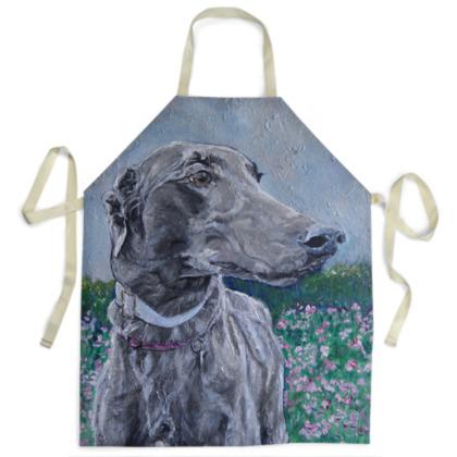 Lark the Greyhound Luxury Fine Art Apron by Somerset (UK) Artist Amanda Boorman