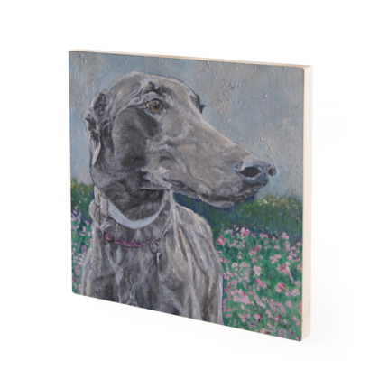 Lark the Greyhound Vintage Style Fine Art Wood Print by Somerset (UK) Artist Amanda Boorman