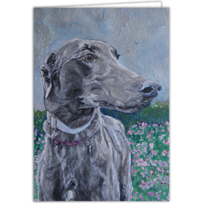 Personalised Lark the Greyhound Fine Art Occasions Card by Somerset (UK) Artist Amanda Boorman