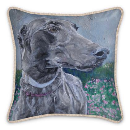 Lark the Greyhound Luxury Fine Art Silk Cushion by Somerset (UK) Artist Amanda Boorman