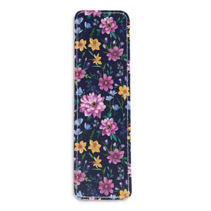 Floral Leather Bookmark, Beautiful Blooms Design
