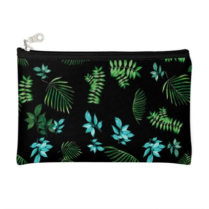 Zip Top Pouch - Blue & Green leaves