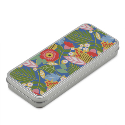 Paradise House Tropical Floral Blue classic Pencil Case Box