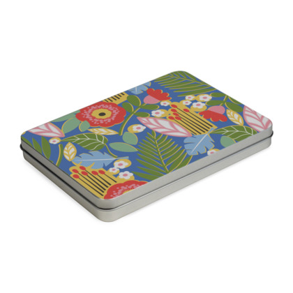 Paradise House Tropical Floral Blue Pencil Case Box A5