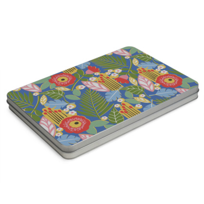 Paradise House Tropical Floral Blue Pencil Case Box A4