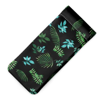 Glasses case pouch - Blue & Green leaves