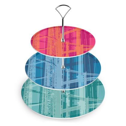 CAKE STAND - Gasometer Geometric Varied Colours
