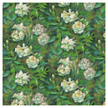 White Roses, Green Leaves, Serving Platter