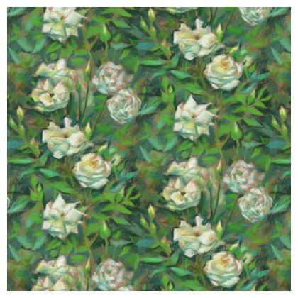 White Roses, Green Leaves, Ornamental Bowl