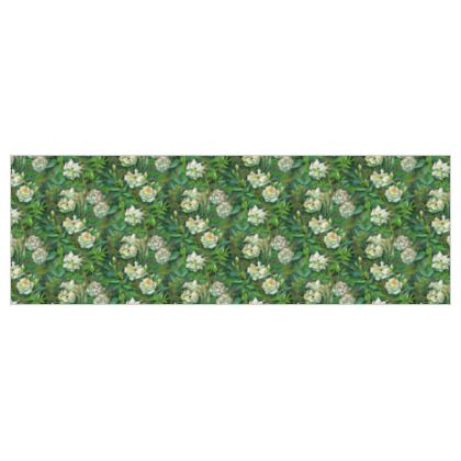 White Roses, Green Leaves Fabric Printing