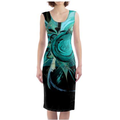 Bodycon dress - Fodralklänning - Turquoise black