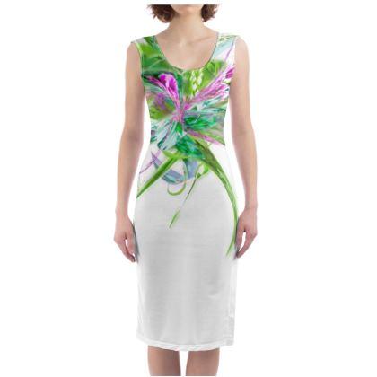 Bodycon dress - Fodralklänning - Summer flower white