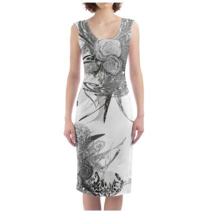 Bodycon dress - Fodralklänning - 50 shades of lace grey white