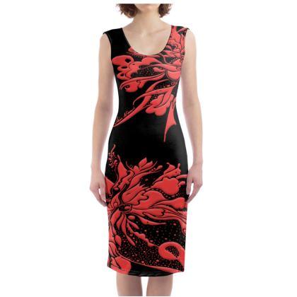 Bodycon dress - Fodralklänning - Red ink black