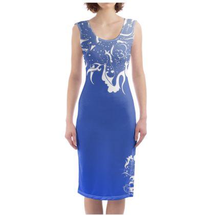 Bodycon dress - Fodralklänning - White ink blue