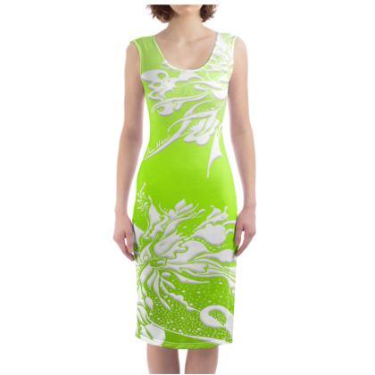 Bodycon dress - Fodralklänning - White ink gradient green