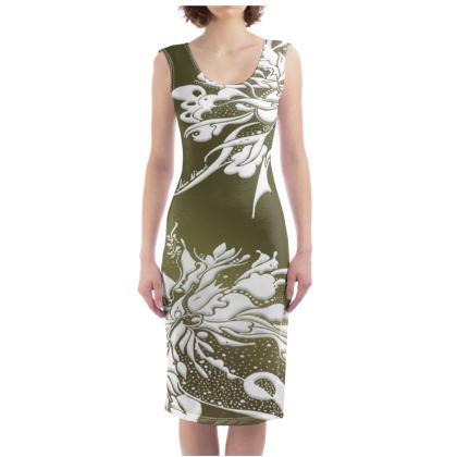 Bodycon dress - Fodralklänning - White ink green